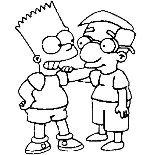 Bart simpson et milhouse coloriage bart simpson et - Dessin simpsons ...