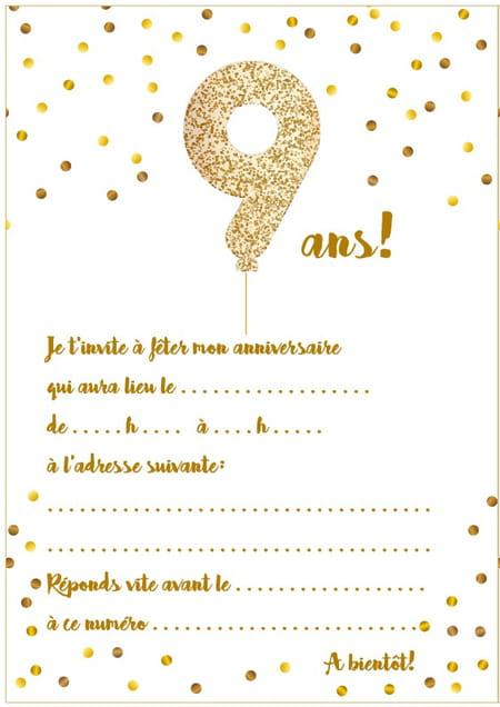 carte anniversaire fille 9 ans Carte d'invitation d'anniversaire 9 ans