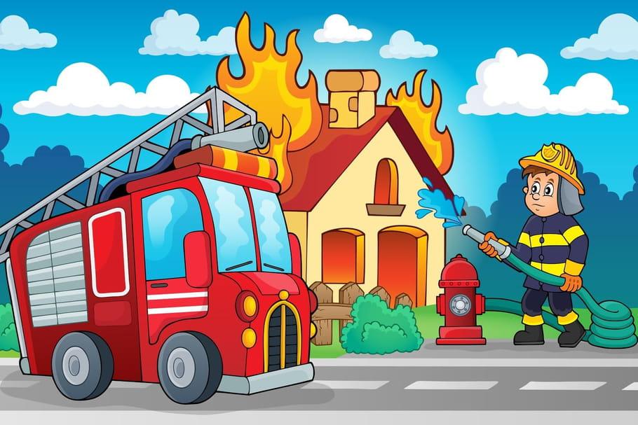 Pompier Feu Dessin Couleur