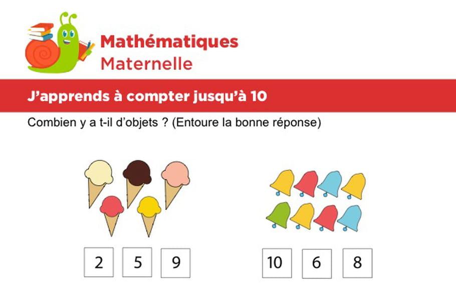 Mathématiques fiche 3, j'apprends à compter jusqu'à 10