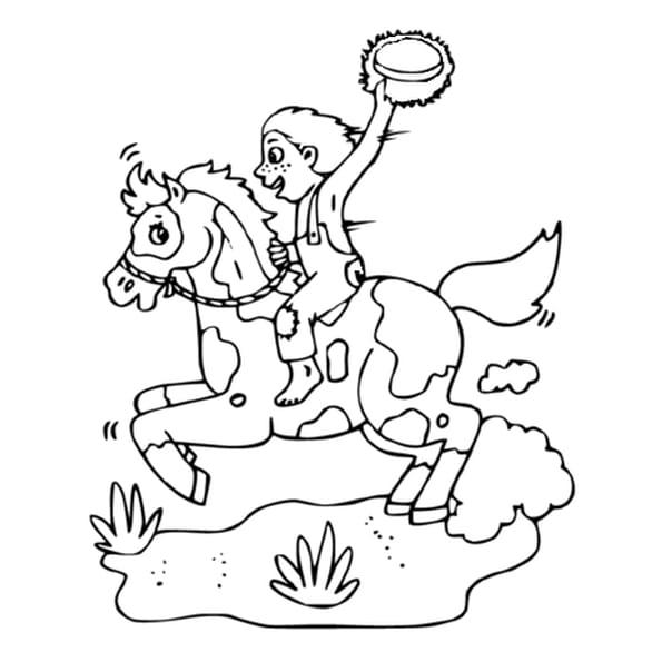 Dessin Cavalier à cheval a colorier