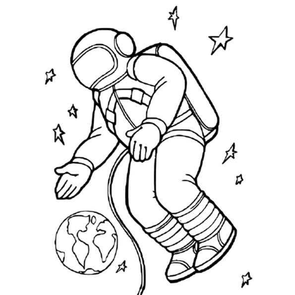 Coloriage Cosmonaute en Ligne Gratuit à imprimer