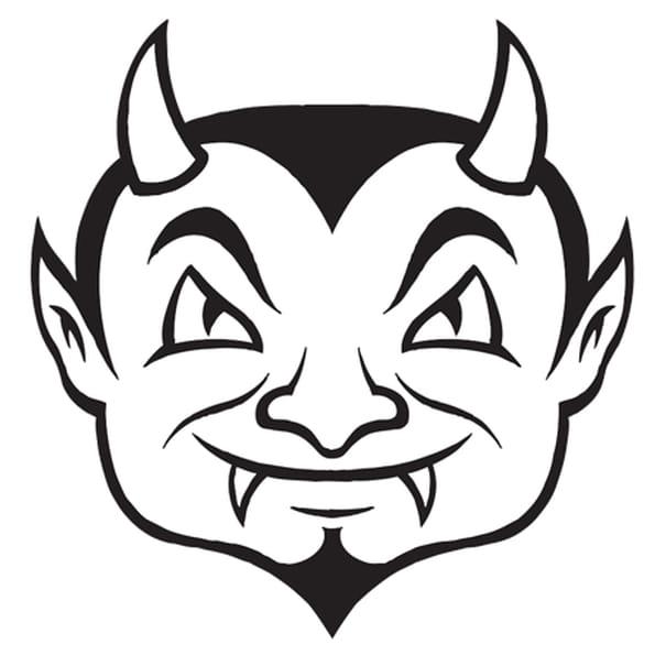 Coloriage Tête de Diable en Ligne Gratuit à imprimer
