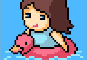 Fillette avec une bouée canard rose en pixel art