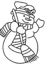 Coloriage bonhomme neige en Ligne Gratuit à imprimer
