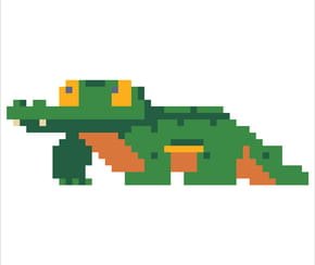 Crocodile en pixel art
