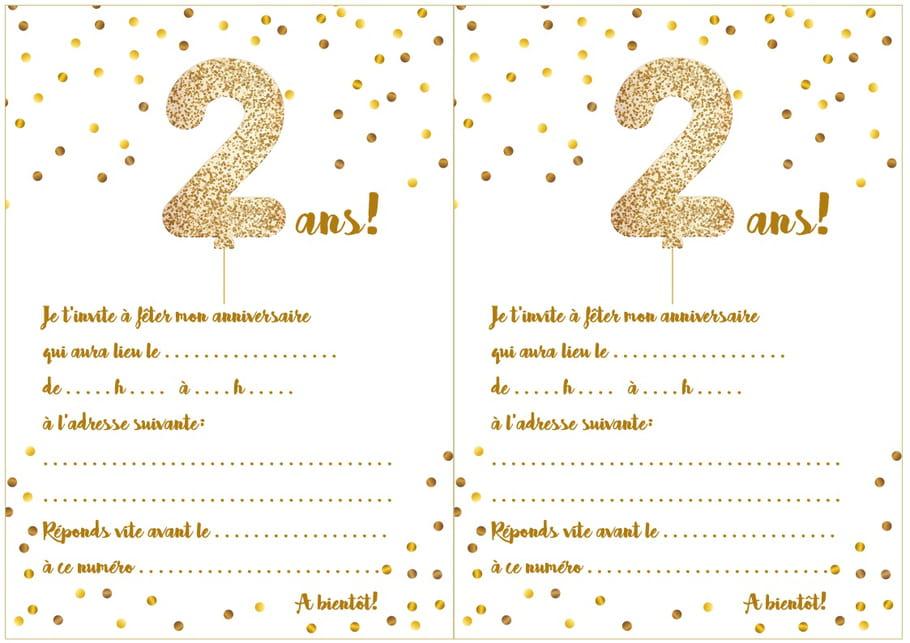 Carte D Invitation D Anniversaire 2 Ans
