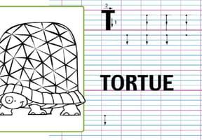 Lettre alphabet T, apprendre à écrire