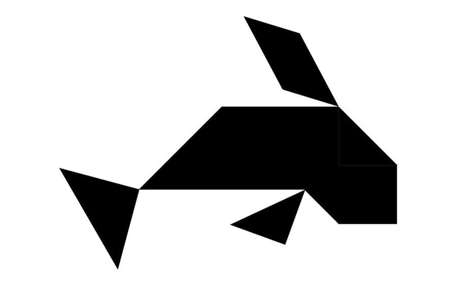 Le tangram niveau difficile, une baleine