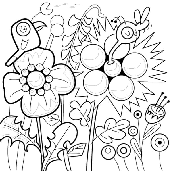 Dessin fleur et oiseau a colorier