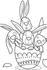 Coloriage lapins de Pâques