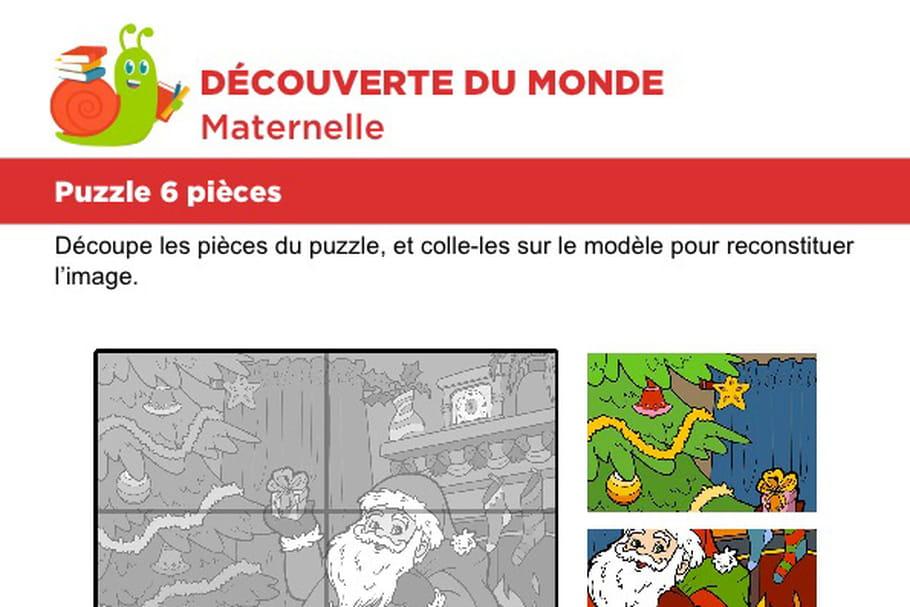 Puzzle 6pièces, le père Noël devant le sapin
