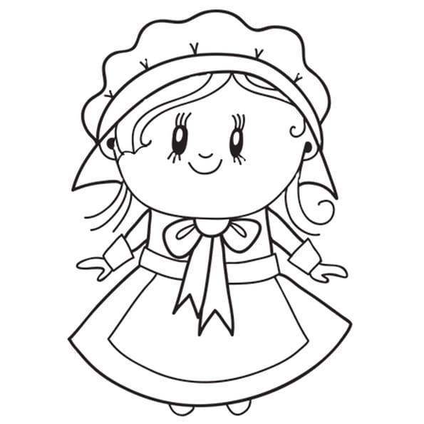 Dessin Madame Colon de Thanksgiving a colorier
