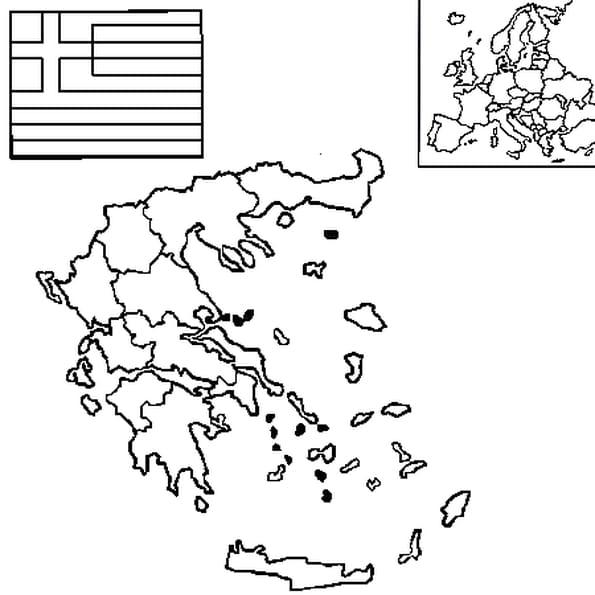 Coloriage carte Grèce