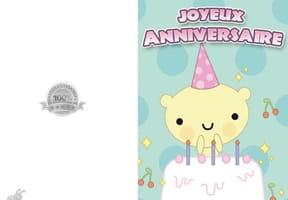 Carte anniversaire ourson blanc