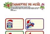 Étiquettes de Noël Hiboux
