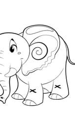 Coloriage Petit éléphant en Ligne Gratuit à imprimer