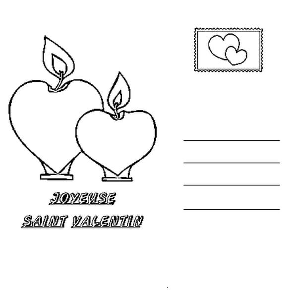 Coloriage carte saint valentin en Ligne Gratuit à imprimer