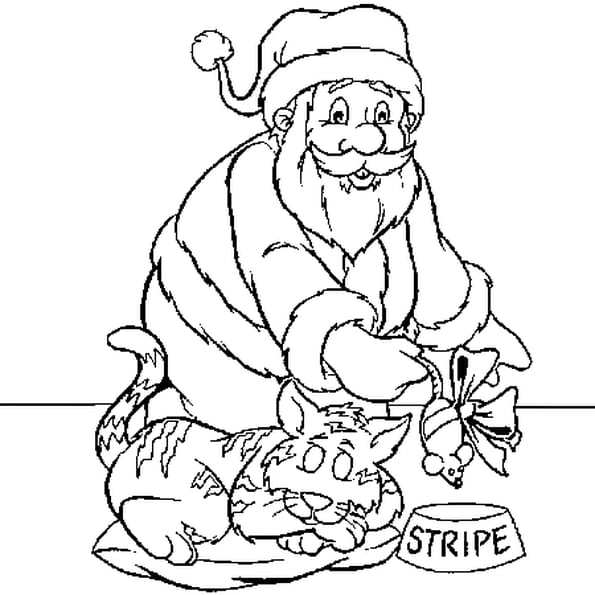 Dessin chat père Noël a colorier