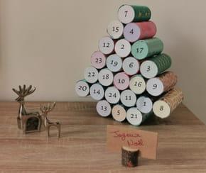 Calendrier de l'avent rouleaux de papier toilette: sapin de Noël