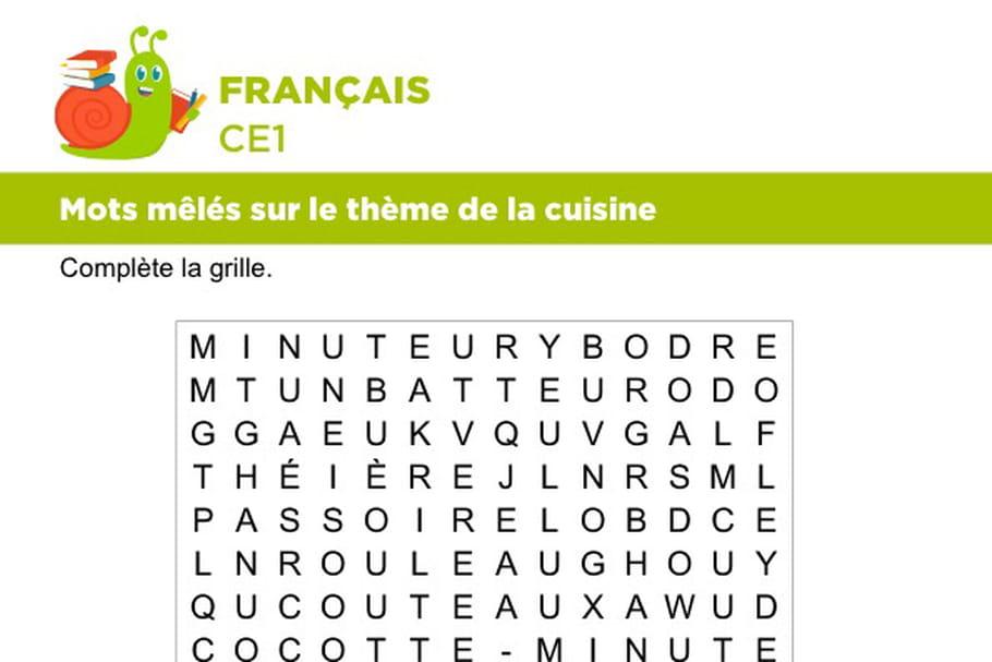 Vocabulaire, mots mêlés sur le thème de la cuisine