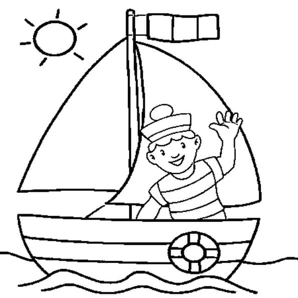 Coloriage Un Petit Navire en Ligne Gratuit à imprimer