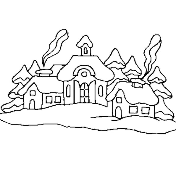 Dessin Village de Noël a colorier