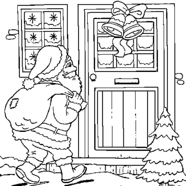Dessin Papa Noël a colorier