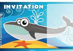Carte invitation anniversaire baleine grise