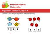Mathématiques fiche 1, j'apprends à compter jusqu'à 5