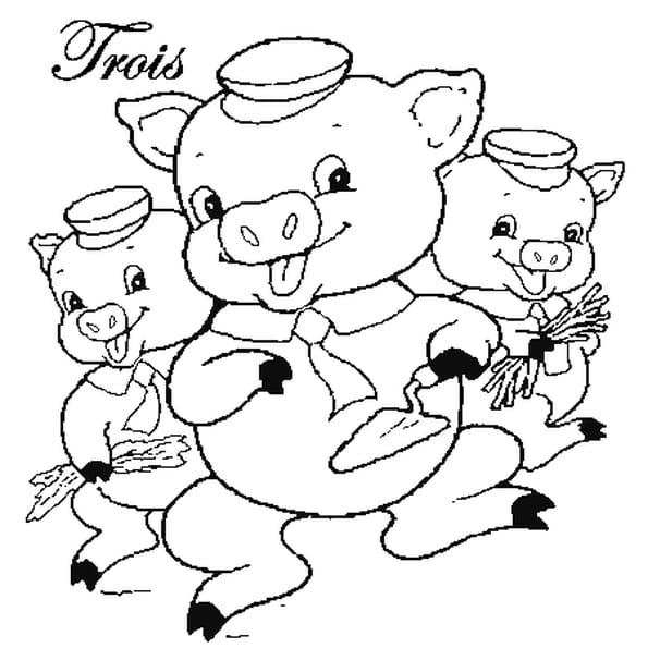 Dessin les 3 petits cochons a colorier