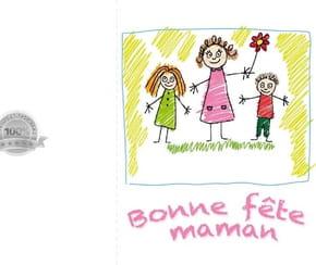 Carte fête des mères dessin enfant