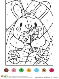 Coloriage magique un lapin pour Pâques