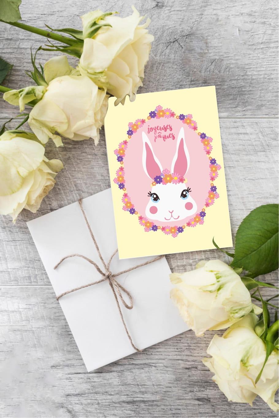 Carte de Pâques lapin hippie