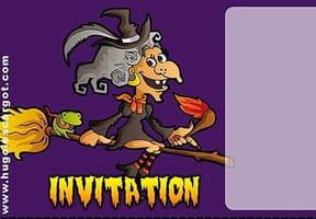 Carte invitation Halloween vieille sorcière