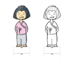 Paper doll fille asiatique
