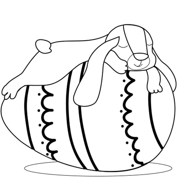 Coloriage Lapin bélier de Pâques en Ligne Gratuit à imprimer