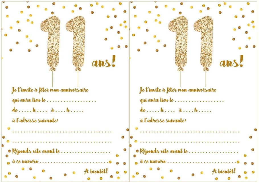 Carte d'invitation d'anniversaire 11 ans