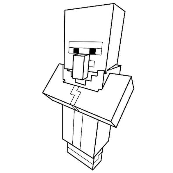 Dessin Le villageois de Minecraft a colorier