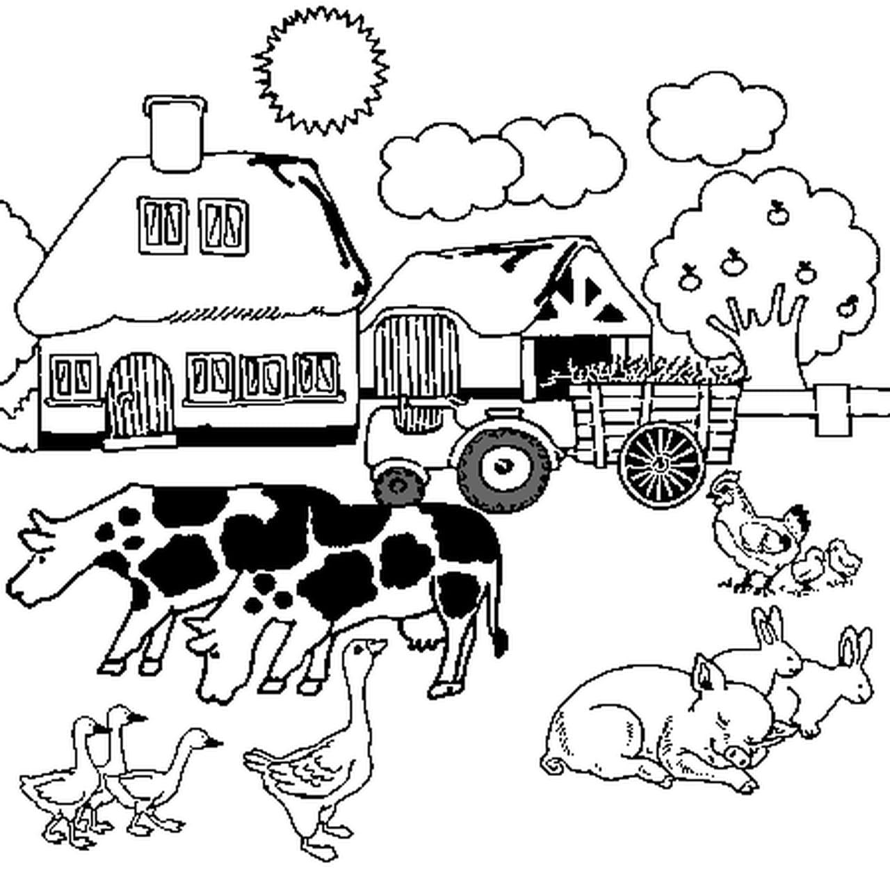 Coloriage De Ferme Avec Tracteur Et Animaux.Coloriage Ferme En Ligne Gratuit A Imprimer