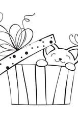 Coloriage Cadeau de Noël et petit chat