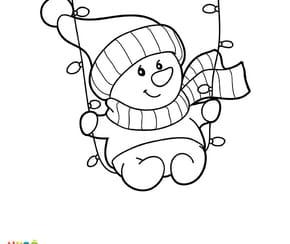 Guirlande de Noël et bonhomme de neige
