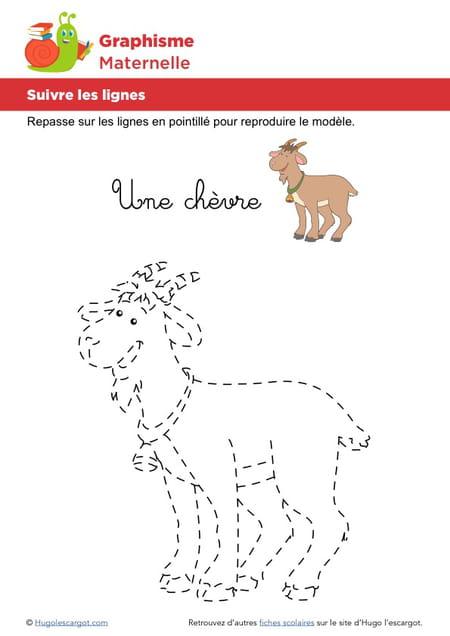 Suivre Les Lignes Pour Dessiner Une Chèvre