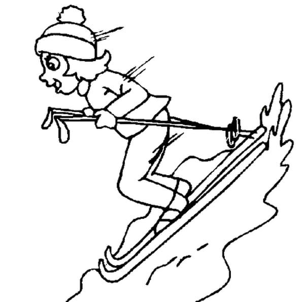 Dessin ski a colorier