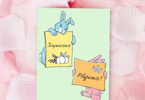 Carte de Pâques lapins style vintage
