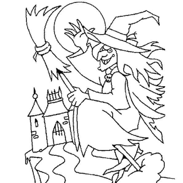 Dessin Sorcière et Chateau a colorier