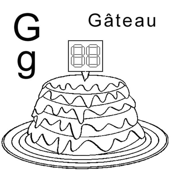 Dessin lettre G comme gâteau a colorier
