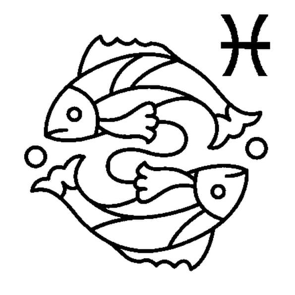 Dessin Signe du Poisson a colorier
