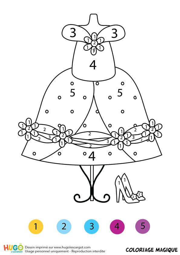 Coloriage magique cp la robe de cendrillon - Coloriage cendrillon en ligne ...