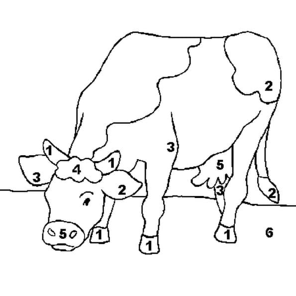 Coloriage magique vache en ligne gratuit imprimer - Coloriage magique en ligne ...